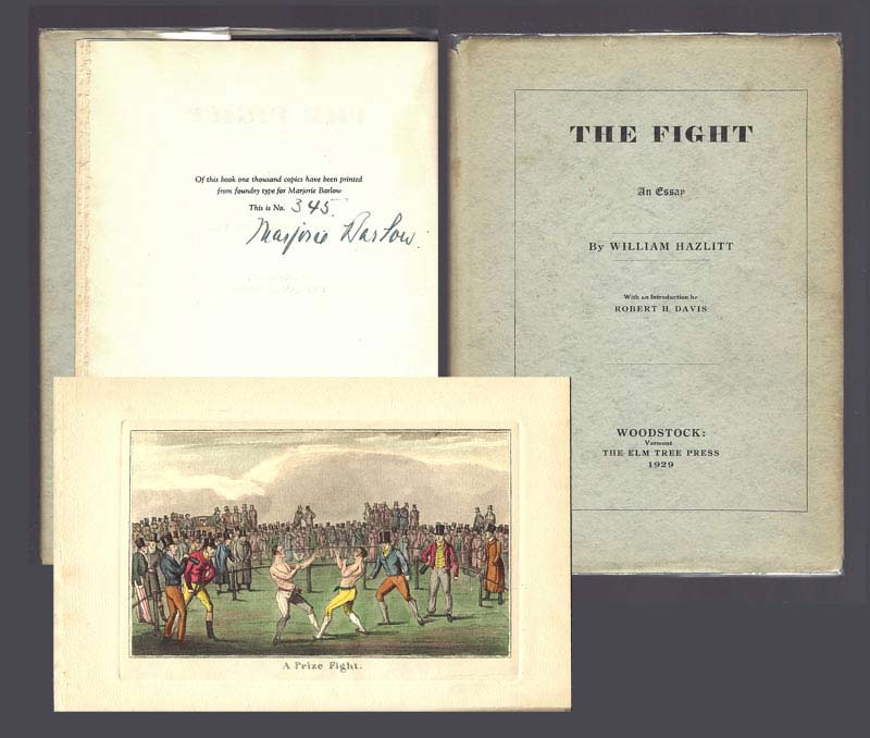 the fight an essay william hazlitt st edition thus william hazlitt the fight an essay