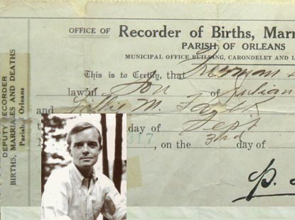 Truman Capote's original Birth Certificate. [ In Cold Blood, Breakfast At Tiffiny's. A Christmas Memory]. Truman Capote.