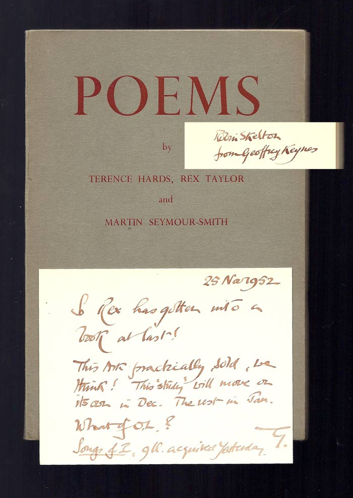POEMS. Signed. Geoffrey Keynes, Terence Hards, Rex and Seymour-Smith Taylor