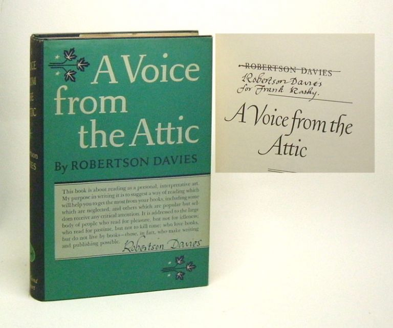 A VOICE FROM THE ATTIC. Signed. Robertson Davies