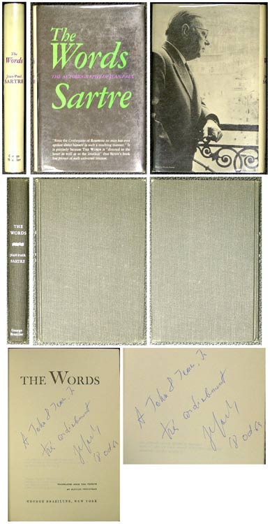 THE WORDS. THE AUTOBIOGRAPHY OF JEAN-PAUL SARTRE. Signed. Jean-Paul Sartre.