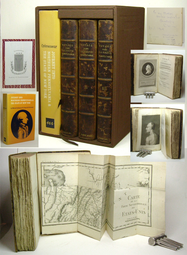 VOYAGE DANS LA HAUTE PENSYLVANIE ET DANS L'ETAT DE NEW YORK PAR UN MEMBRE ADOPTIF DE LA NATION ONEIDA TRADUIT ET PUBLIE PAR L'AUTEUR DES LETTRES D'UN CULTIVATEUR AMERICAN. With: Signed - JOURNEY INTO NORTHERN PENNSYLVANIA AND THE STATE OF NEW YORK. Michel Guillaume Jean de Crevecoeur.