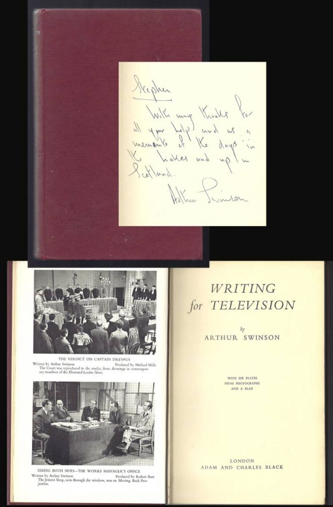 WRITING FOR TELEVISION. Inscribed. Arthur Swinson