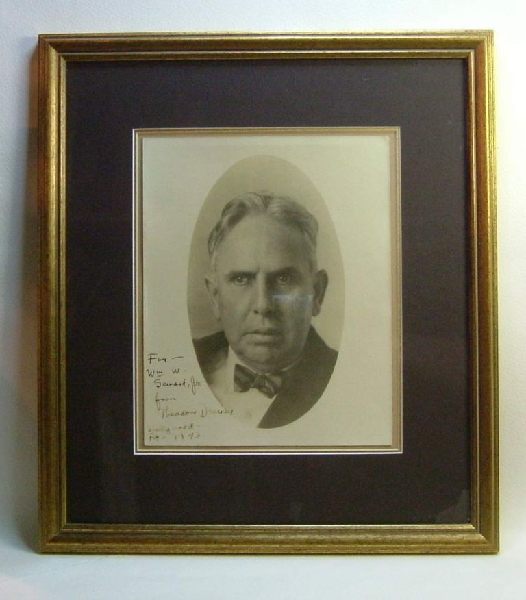 Original Signed & Inscribed Portrait Photograph. Theodore Dreiser