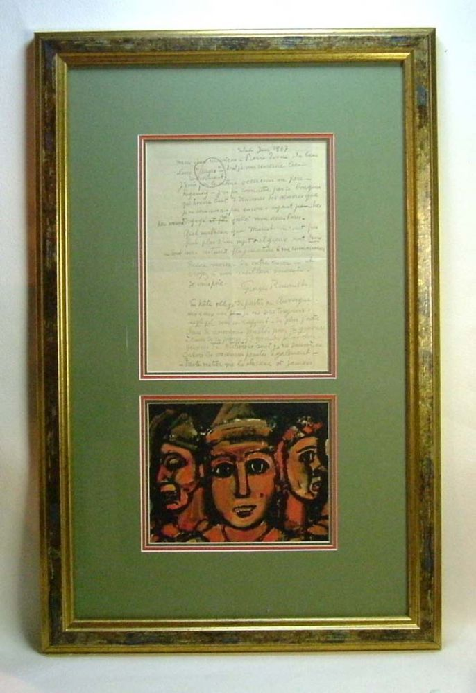Original Autograph Letter Display. Georges Henri Rouault