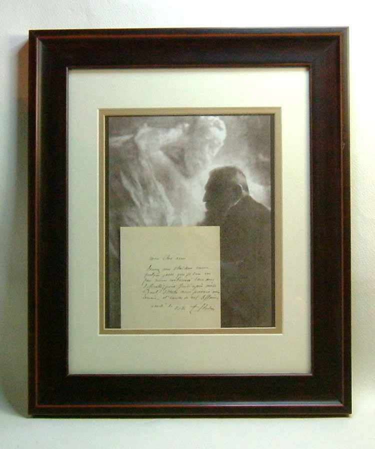 Signed Original Autograph Letter Display. Auguste Rodin