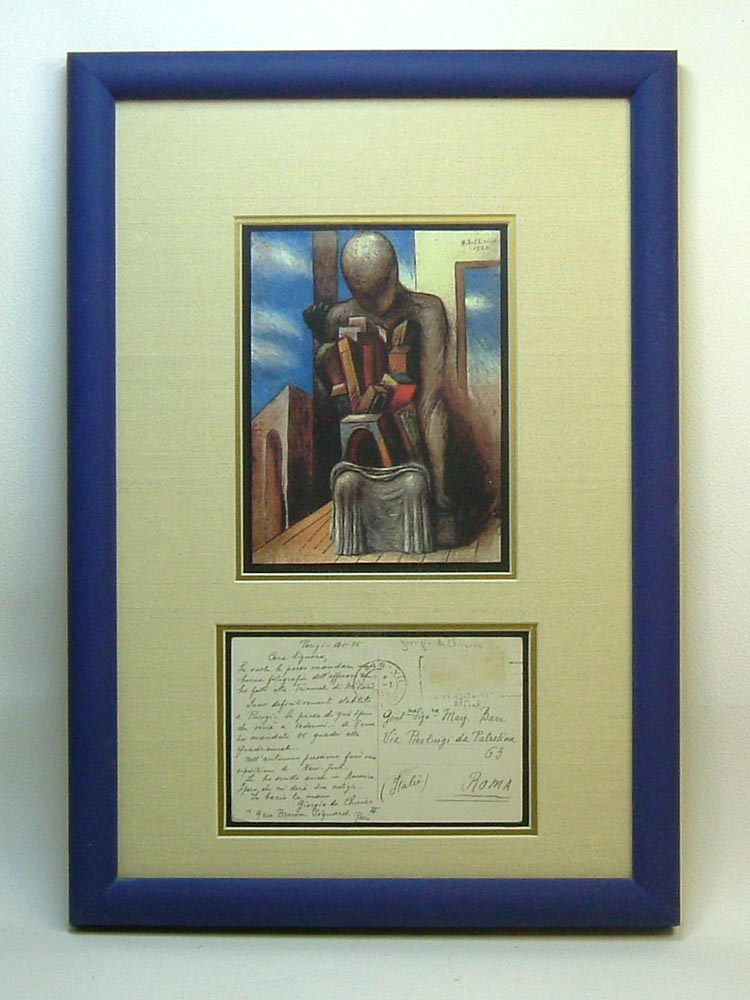 Signed Original Autograph Display. Giorgio de Chirico.