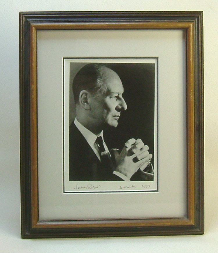 Autographed Portrait Photograph Display. Sir John Gielgud