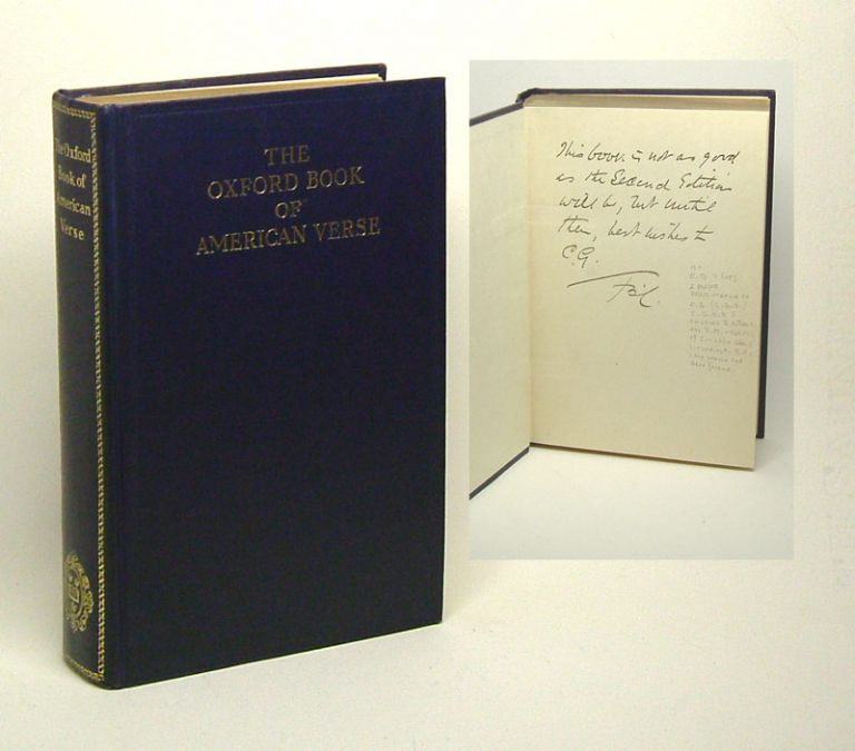 THE OXFORD BOOK OF AMERICAN VERSE. Signed. Bliss Carman