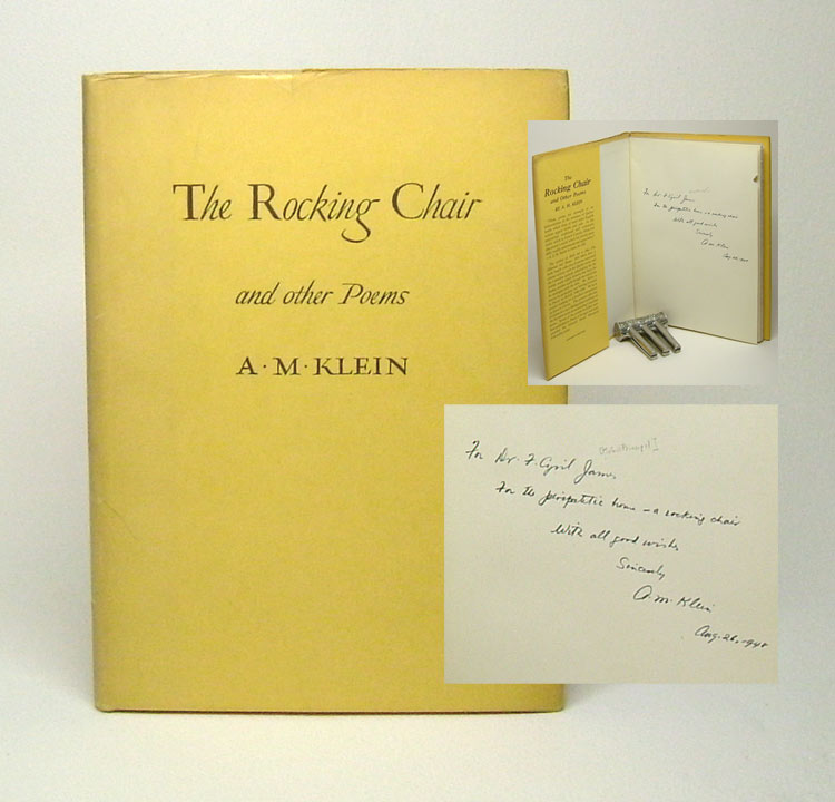 THE ROCKING CHAIR AND OTHER POEMS. Signed. A. M. Klein.