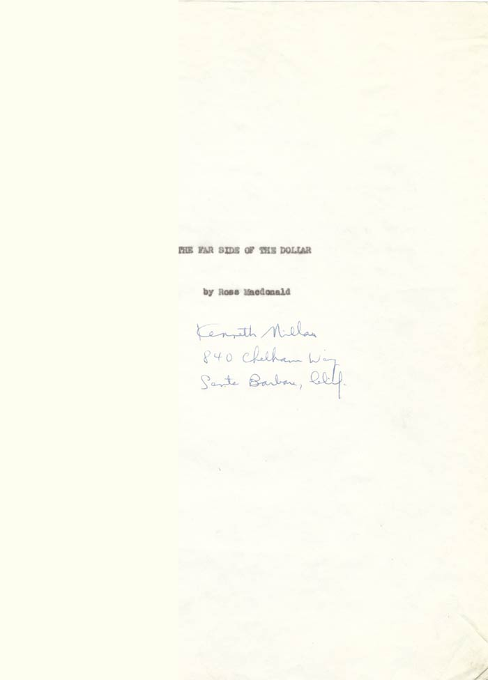 THE FAR SIDE OF THE DOLLAR. Typescript Signed. Ross Macdonald