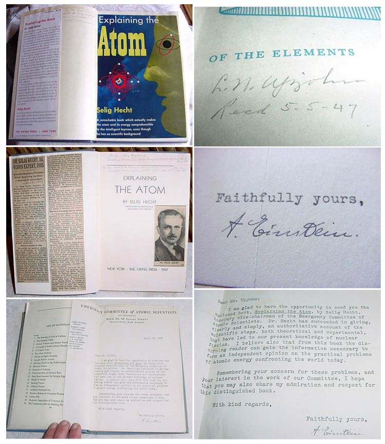 EXPLAINING THE ATOM. Signed. [Lawrence Northcote Upjohn's Copy]. Einstein, Selig Hecht.