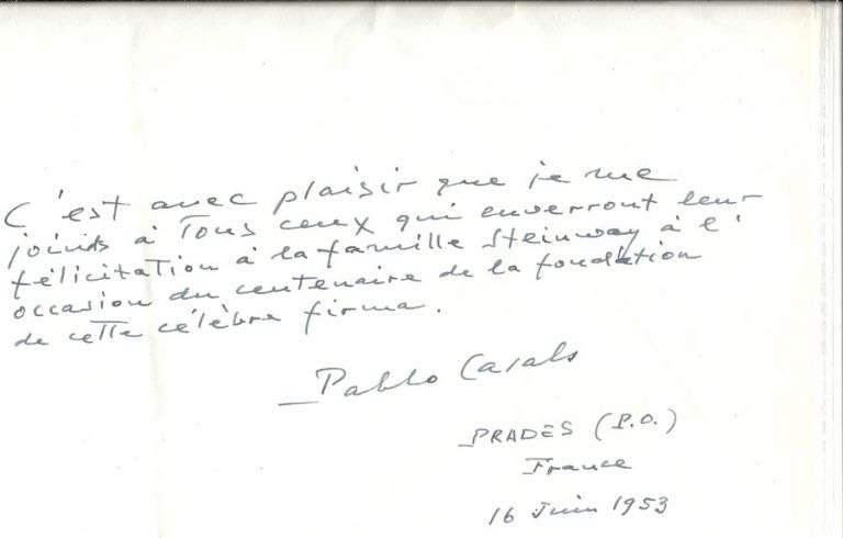 Signed tribute to Steinway & Sons. New York: 1953. Pablo Casals