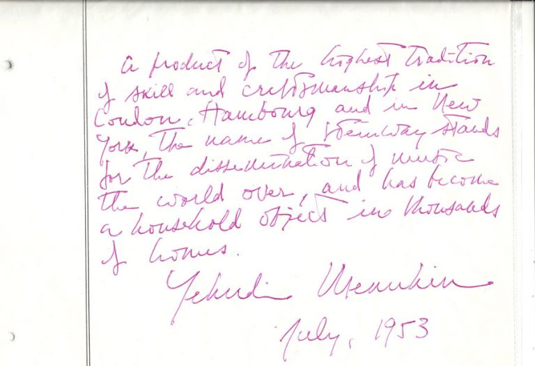 Signed tribute to Steinway & Sons. New York: 1953. Yehudi Menuhin.