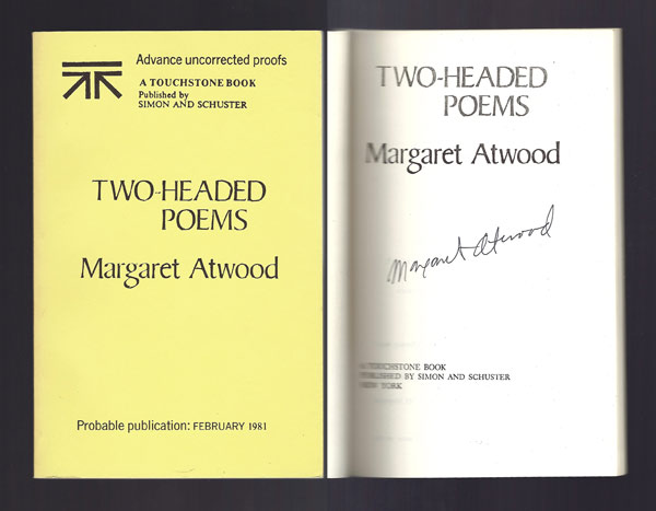 TWO-HEADED POEMS. Signed. Margaret Atwood.