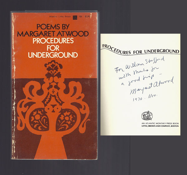 PROCEDURES FOR UNDERGROUND. Signed. Margaret Atwood.