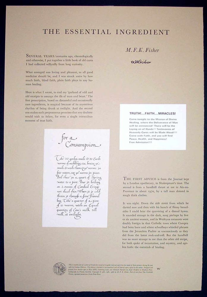 THE ESSENTIAL INGREDIENT. Signed Broadside. M. F. K. Fisher