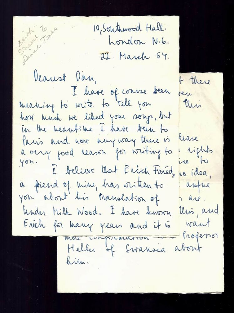 Autograph Letter Signed to Composer Daniel Jones about Erich Fried translating Dylan Thomas. Edith Sitwell, Dylan Thomas, Daniel Jones.