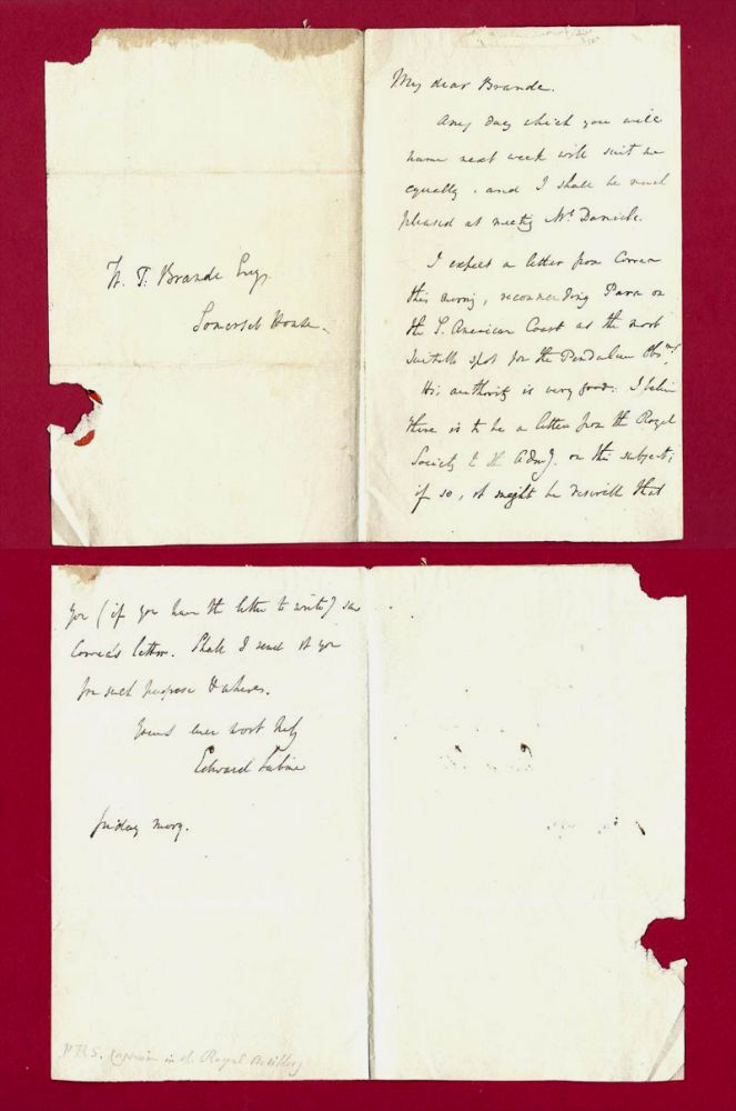 Autograph Letter regarding Pendulum experiments in S. America. General Sir Edward Sabine