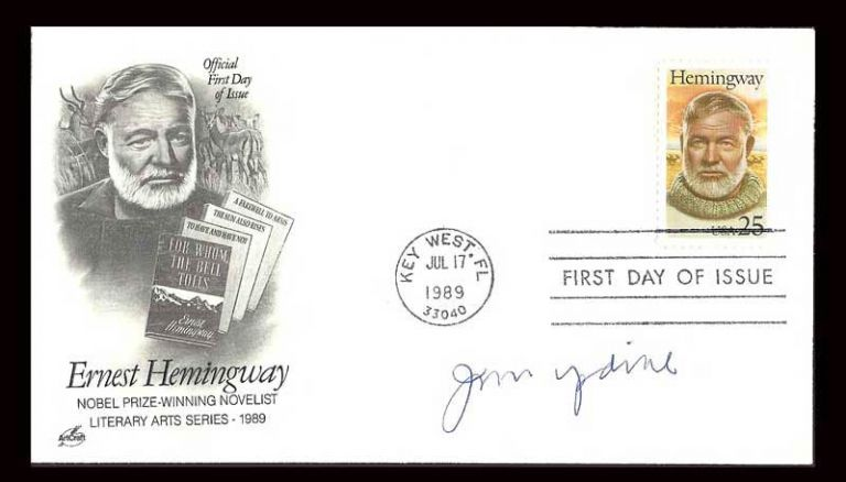 FDC - First Day Cover in the Literary Arts 1989 Series. Signed by John Updike in Tribute. Ernest...