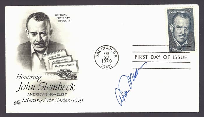 First Day Cover in the Literary Arts 1979 Series. Signed by Arthur Miller in Tribute. John Steinbeck, Aurthur Miller.