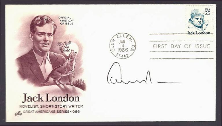FDC - First Day Cover in the Great Americans 1986 Series. Signed by Edward Albee in tribute. Jack London, Edward Albee.
