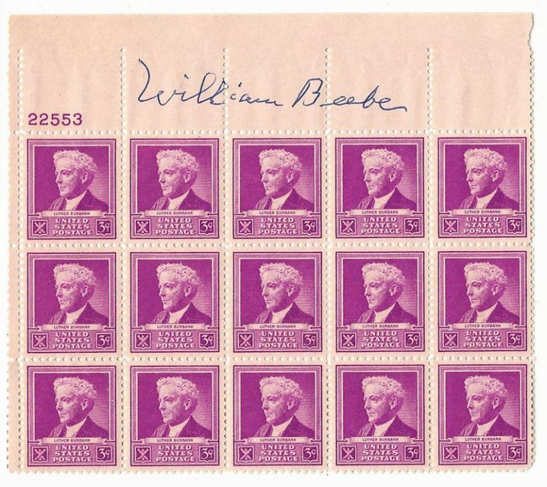 Block of Luther Burbank Stamps Signed by William Beebe. William Beebe, Luthe Burbank.