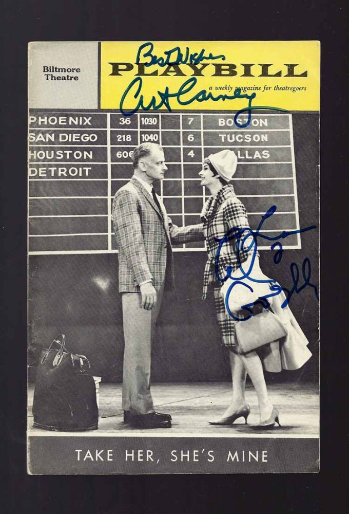 Signed Playbill for TAKE HER SHE'S MINE. Art Carney.