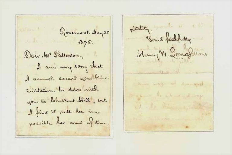 Autograph Letter Signed 1876. Henry Wadsworth Longfellow.