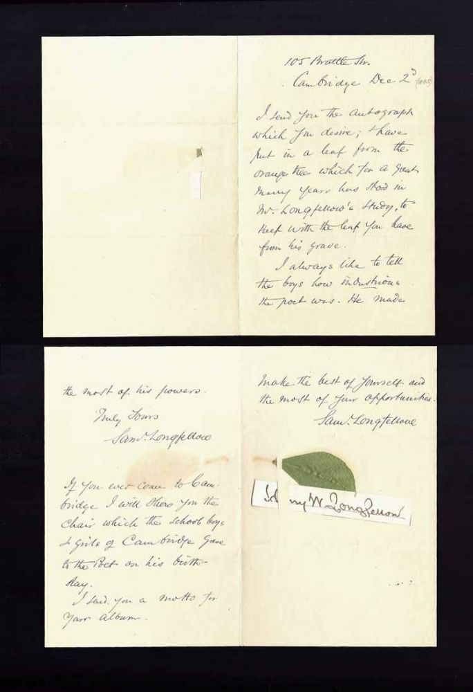 Autograph Letter Signed. Sam Longfellow, Henry Wadsworth Longfellow
