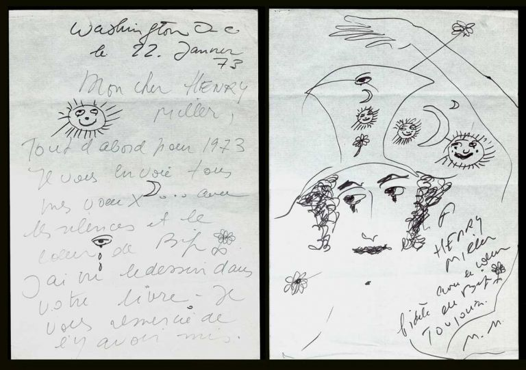 Marceau, Marcel. [Henry Miller]. Autographed & Illustrated Letter Signed. [SMILE AT THE FOOT OF THE LADDER]. Marcel Marceau, Henry Miller.
