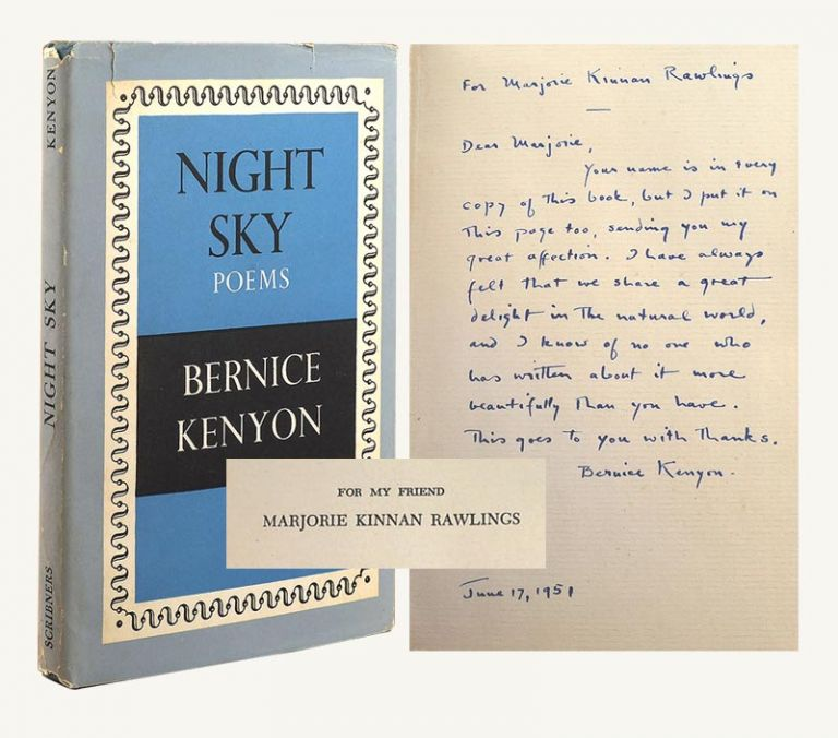 NIGHT SKY. Signed Dedication Copy. Marjorie Kinnan Rawlings, Bernice Kenyon