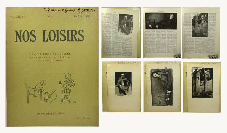 NOS LOISIRS. REVUE LITTERAIRE MODERNE. Three Original Pen & Ink Daragnes Illustrations. Nouvelle...