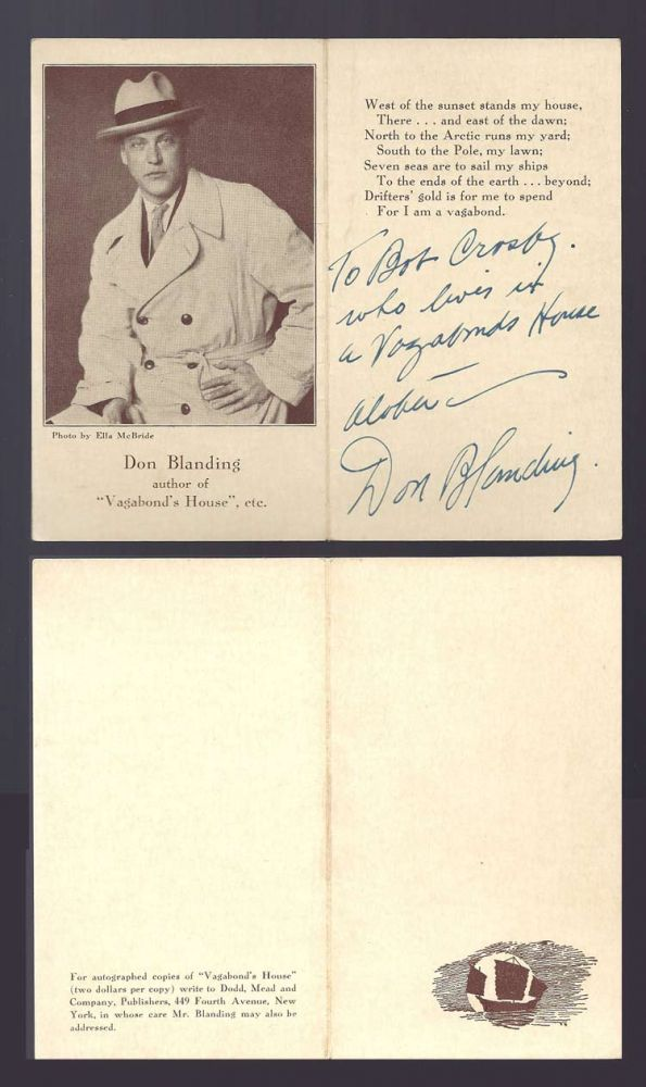 PRESENTATION AUTOGRAPHED GREETING'S POEM. Don Blanding.