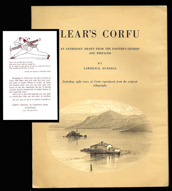 LEAR'S CORFU. An Anthology Drawn From The Painter's Letters. Lawrence Durrell, Edward Lear.