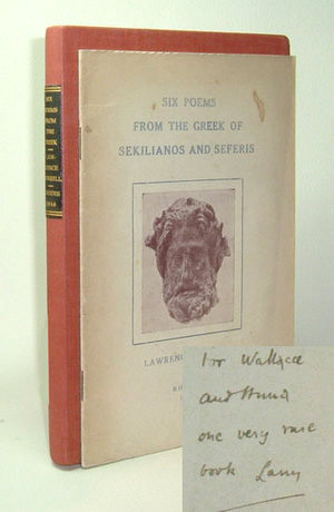 Six Poems from the Greek of Sekilianos and Seferis. Signed. Lawrence Durrell.