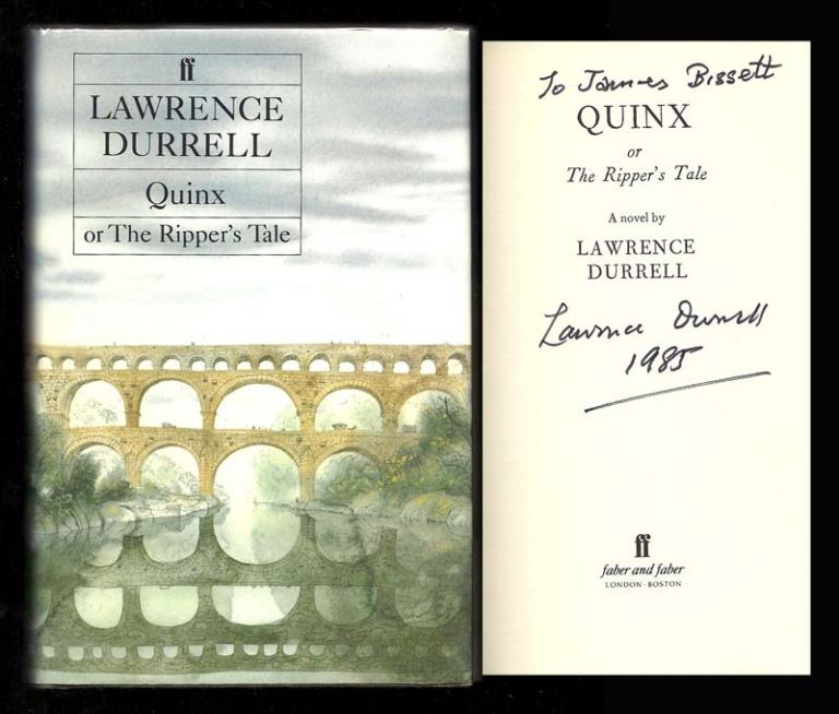 QUINX. Or The Ripper's Tale. Signed. Lawrence Durrell
