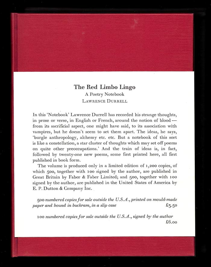 THE RED LIMBO LINGO. A Poetry Notebook. Signed. Lawrence Durrell.