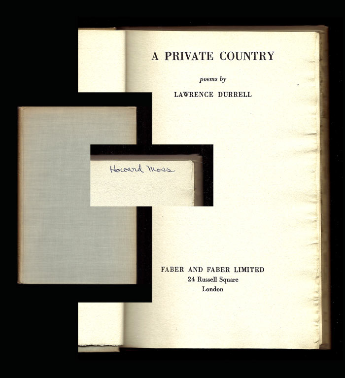 A PRIVATE COUNTRY. Signed. Lawrence Durrell