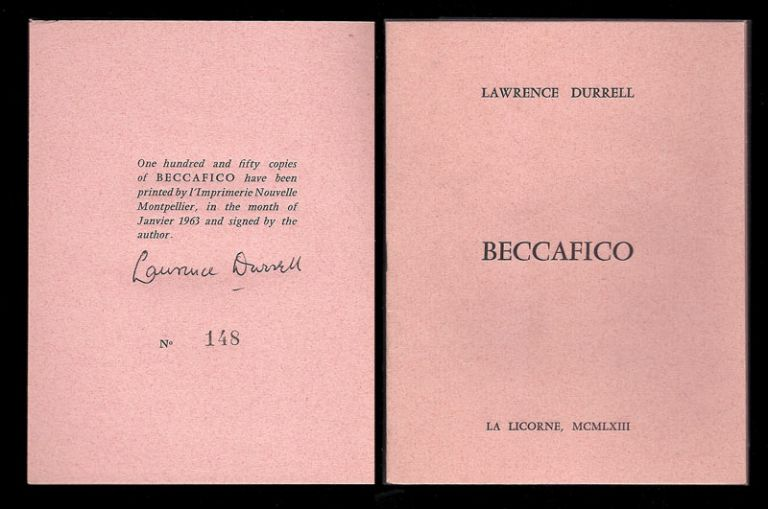 BECCAFICO. Le Becfigue.Signed. Lawrence Durrell.