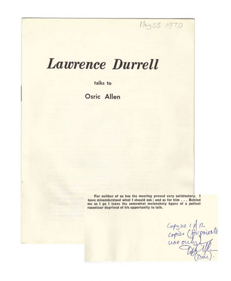 LAWRENCE DURRELL TALKS TO OSRIC ALLEN. Signed. Lawrence Durrell