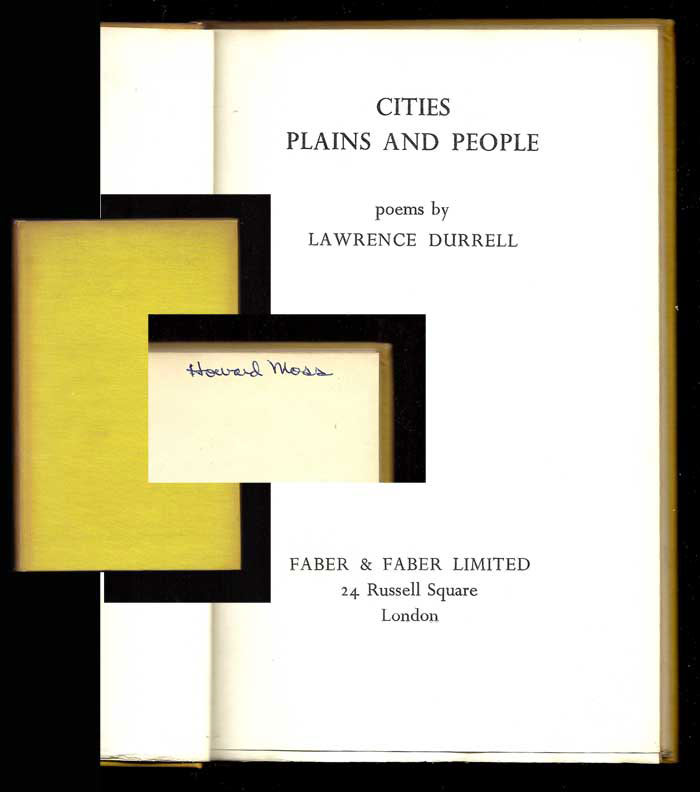 CITIES PLAINS AND PEOPLE. Signed. Lawrence Durrell.