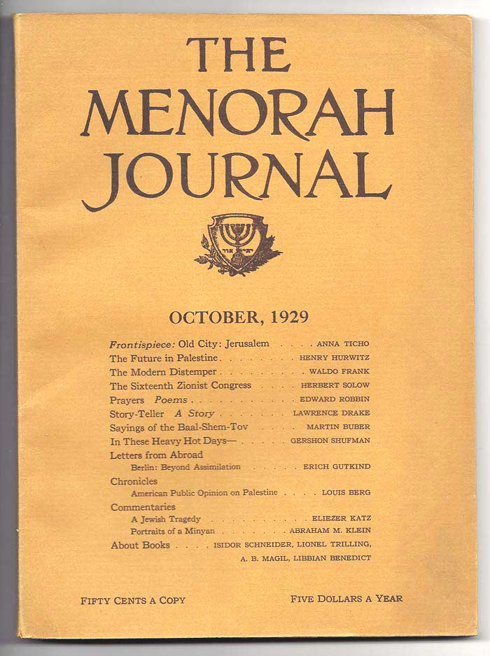 THE MENORAH JOURNAL. October 1929. Vol. XVII, No. 1. A. M. Klein, Buber.