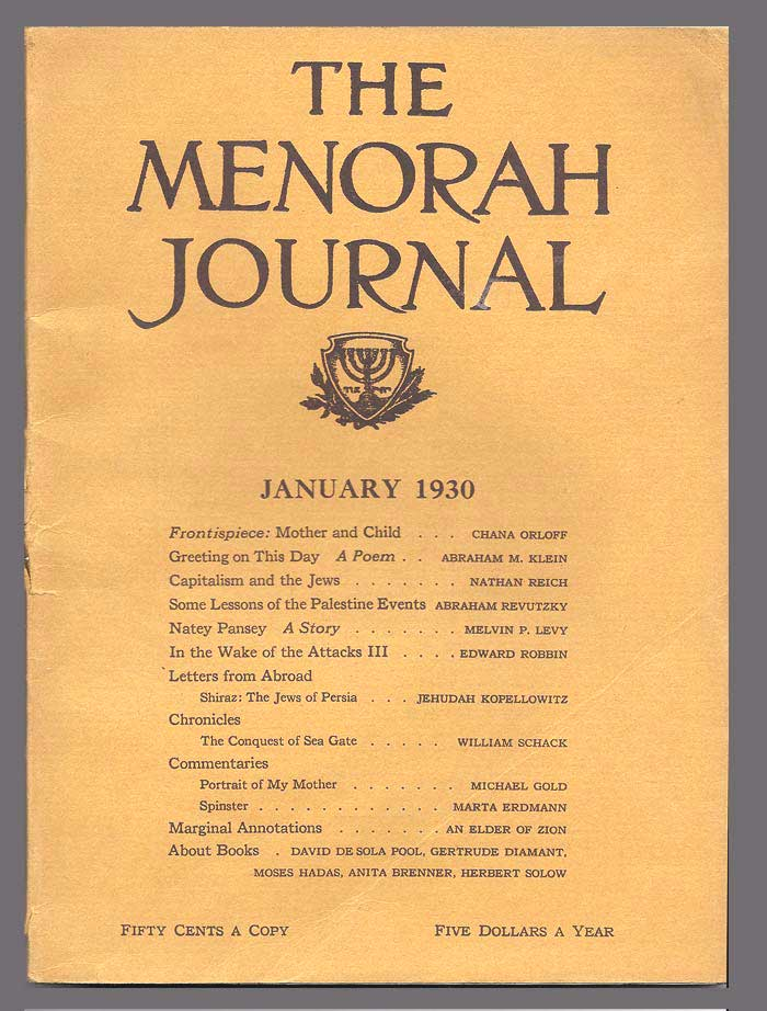 THE MENORAH JOURNAL. January 1930. Vol. XVIII, No. 1. A. M. Klein, Orloff