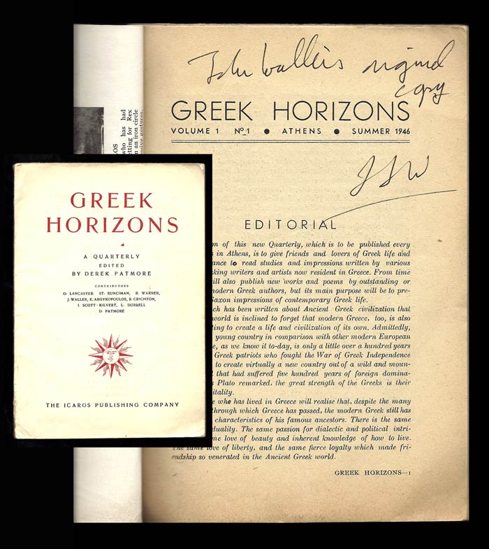 GREEK HORIZONS. Volume I. Number I. Summer, 1946. Signed. Lawrence Durrell, Derek Patmore, Edit