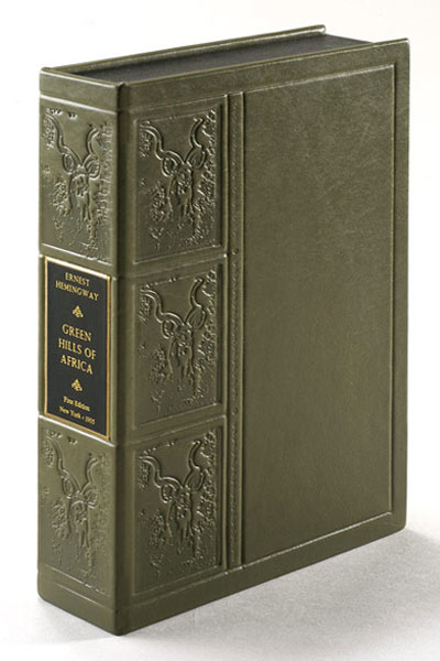 GREEN HILLS OF AFRICA. Custom Collector's 'Sculpted' Clamshell Case. Ernest Hemingway.