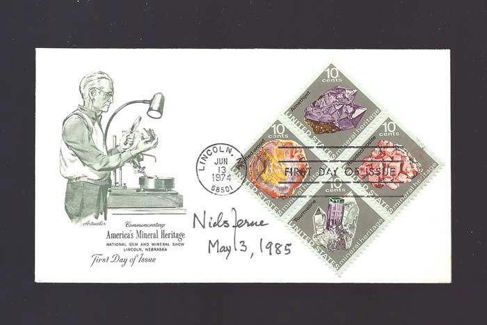 Signed FDC - First Day Cover. [Nobel Prize]. Niels Kaj Jerne, 1911 - 1994