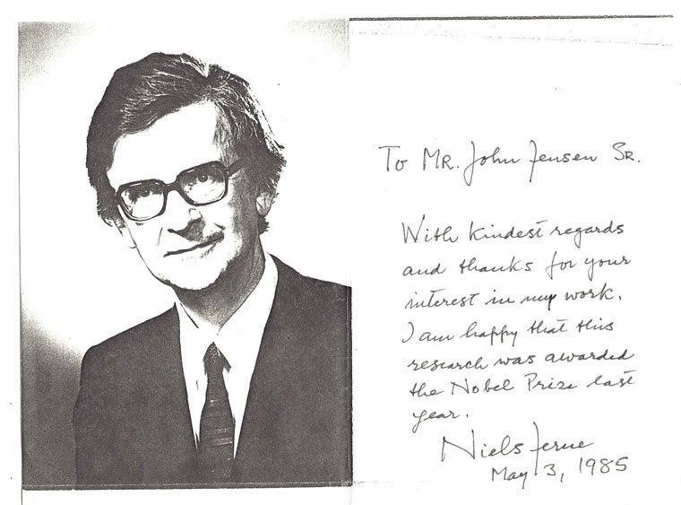 Autograph Document Signed. [Nobel Prize]. Niels Kaj Jerne, 1911 - 1994