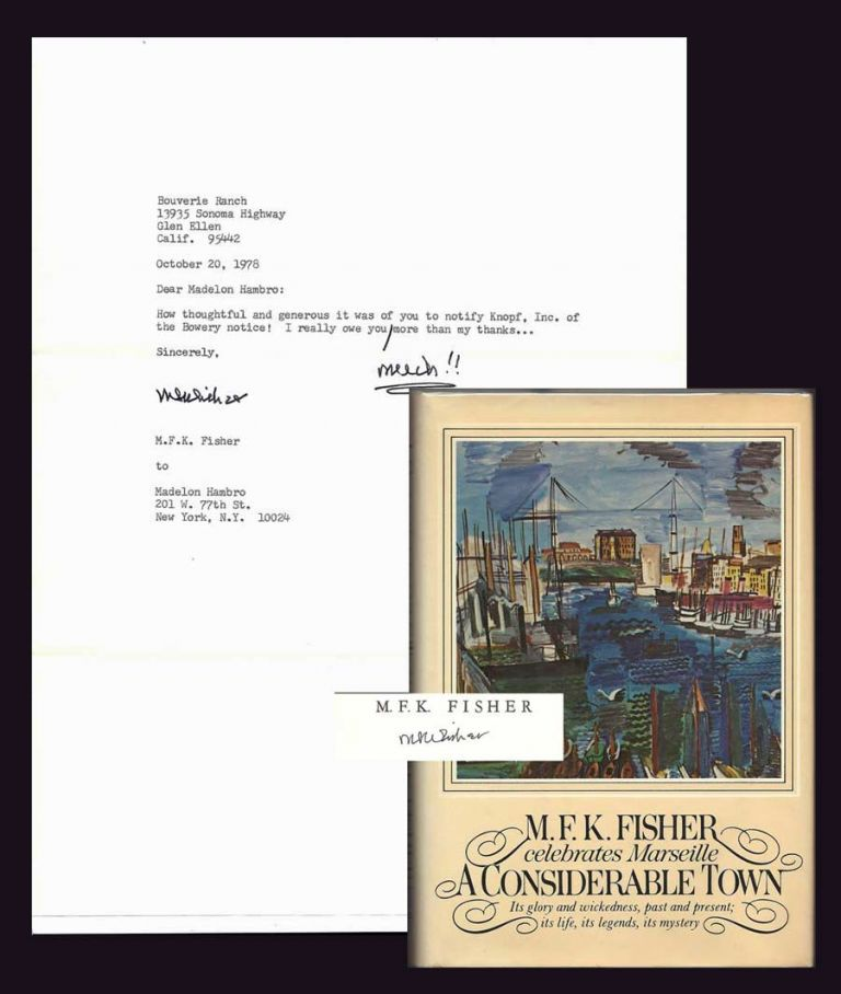 A CONSIDERABLE TOWN. Signed with TLS. M. F. K. Fisher.