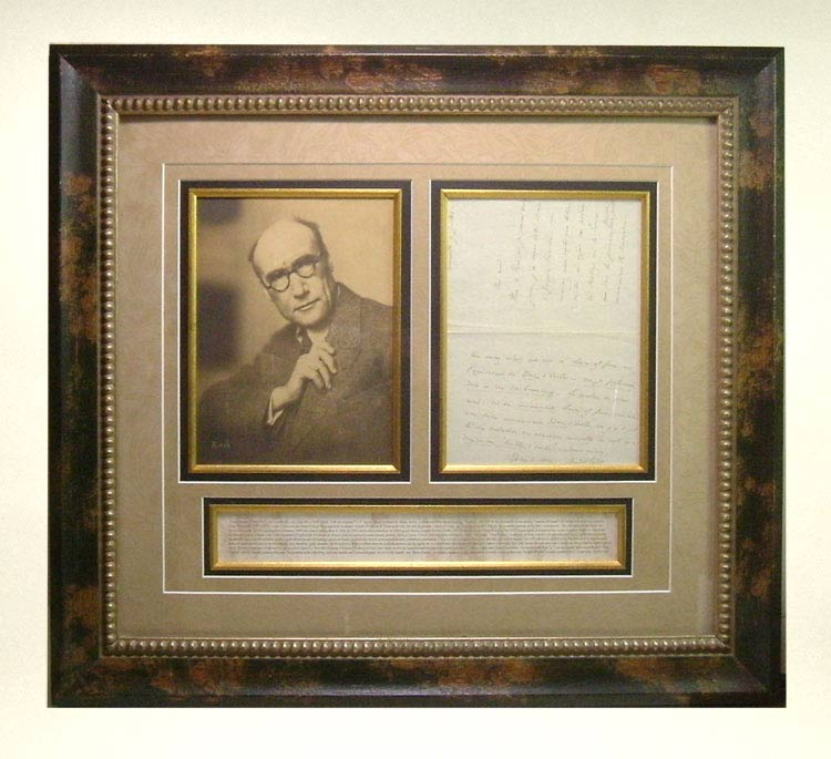 Signed Original Autograph Letter & Photo Display. André Gide, Walt Whitman.
